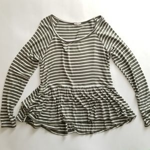 Green Peplum Top Striped Long Sleeve Blouse
